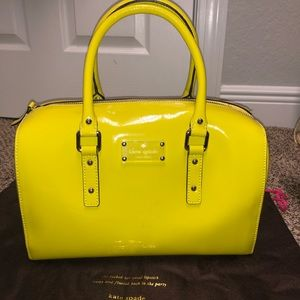 "KATE SPADE YELLOW PATENT ""FLICKER MELINDA"" SATCHEL"